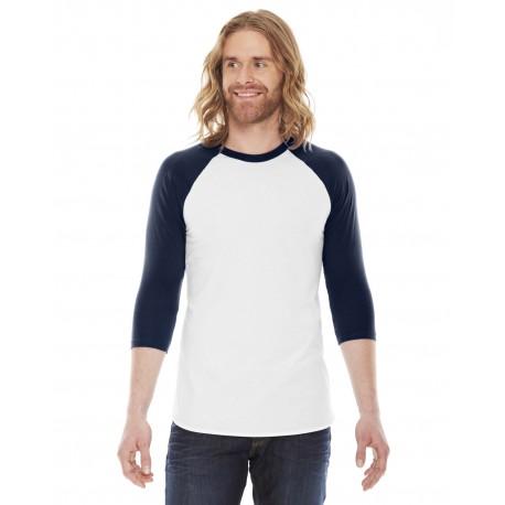 BB453 American Apparel BB453 Unisex Poly-Cotton USA Made 3/4-Sleeve Raglan T-Shirt WHITE/NAVY