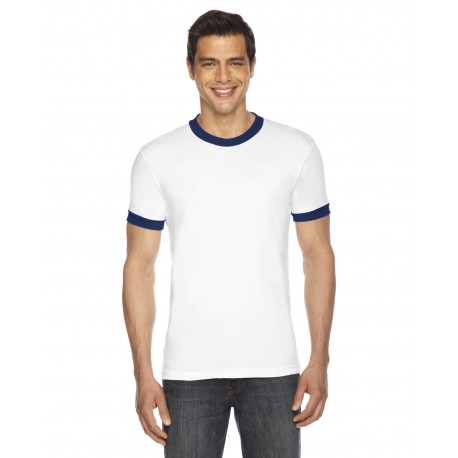 BB410W American Apparel BB410W UNISEX Poly-Cotton Short-Sleeve Ringer T-Shirt WHITE/NAVY