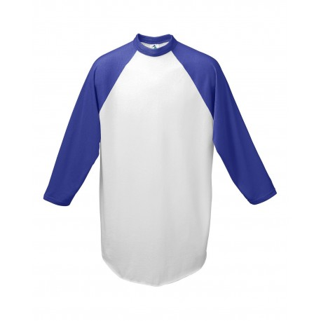 AG4420 Augusta Sportswear AG4420 Adult 3/4-Sleeve Baseball Jersey WHITE/PURPLE