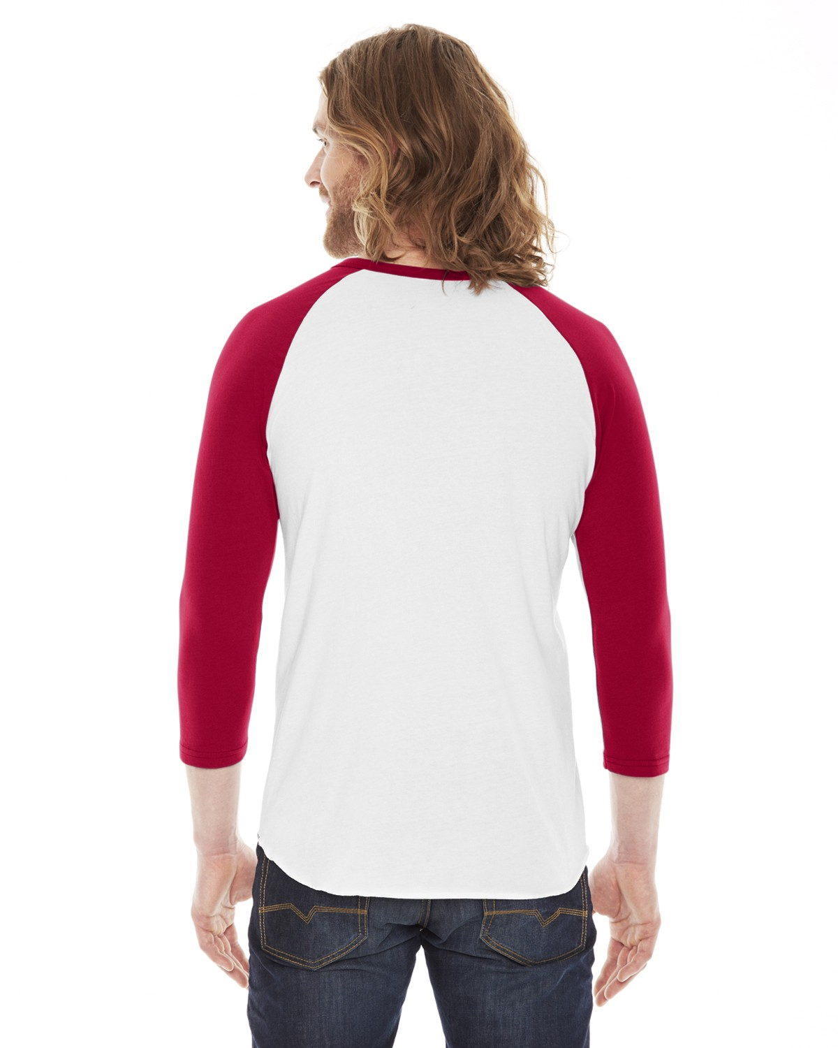 BB453 American Apparel WHITE/RED