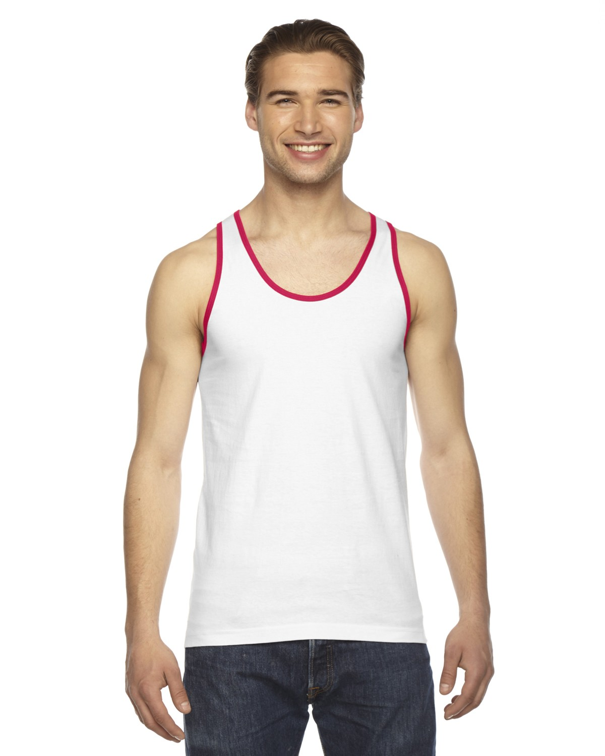 2408W American Apparel WHITE/RED