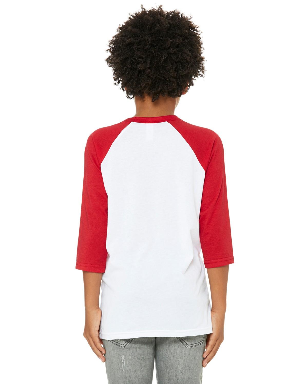 3200Y Bella + Canvas WHITE/RED