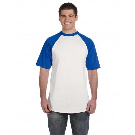 423 Augusta Sportswear 423 Adult Short-Sleeve Baseball Jersey WHITE/ROYAL