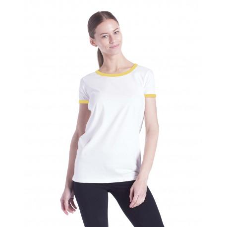 US609 US Blanks US609 Ladies' Classic Ringer T-Shirt WHITE/YELLOW