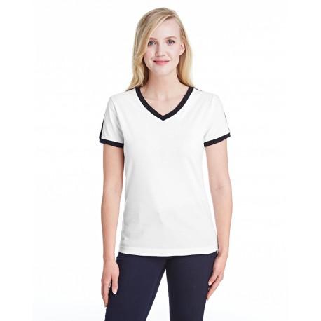 3532 LAT 3532 Ladies' Soccer Ringer Fine Jersey T-Shirt WHITE/BLACK