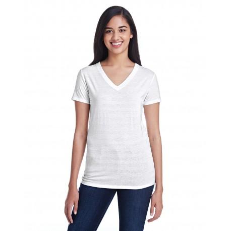 252RV Threadfast Apparel 252RV Ladies' Invisible Stripe V-Neck T-Shirt WHT INVSBL STRP