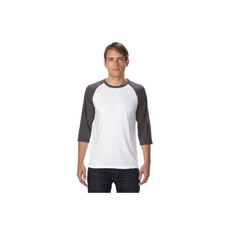 6755 Anvil 6755 Adult Triblend 3/4-Sleeve Raglan T-Shirt WHT/TR H DK GRY