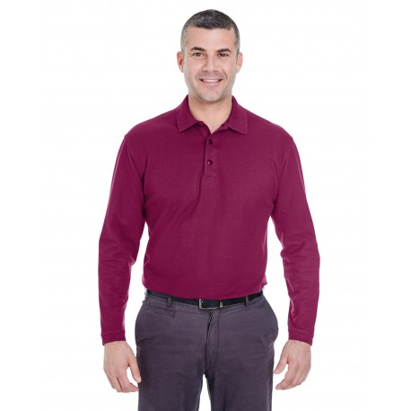 8542 UltraClub 8542 Adult Long-Sleeve Whisper Pique Polo WINE