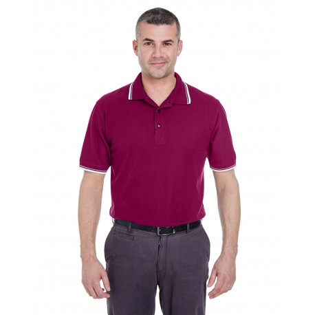 8545 UltraClub 8545 Men's Short-Sleeve Whisper Pique Polo with Tipped Collar and Cuffs WINE/WHITE