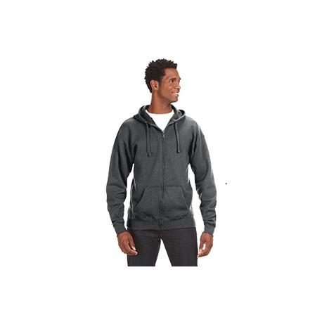 JA8821 J America JA8821 Adult Premium Full-Zip Fleece Hood CHARCOAL