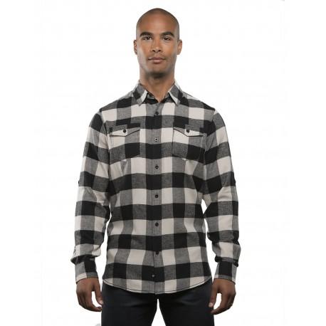 B8210 Burnside B8210 Men's Plaid Flannel ECRU/ BLACK