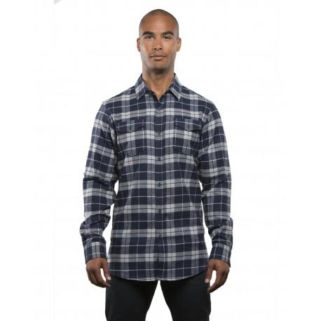 B8210 Burnside B8210 Men's Plaid Flannel NAVY/ GREY