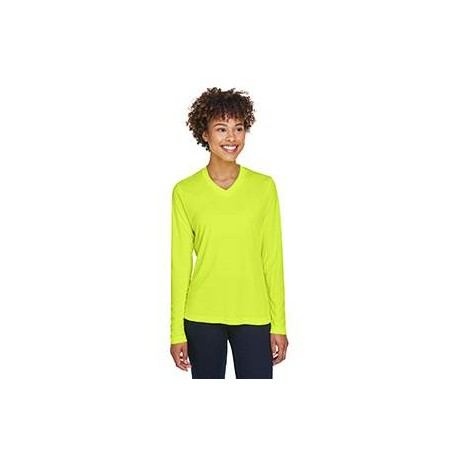 TT11WL Team 365 TT11WL Ladies' Zone Performance Long-Sleeve T-Shirt SAFETY YELLOW