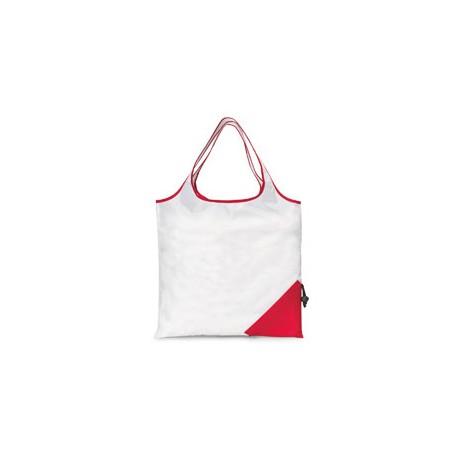 1182 Gemline 1182 Latitiudes Foldaway Shopper Tote WHITE/ RED
