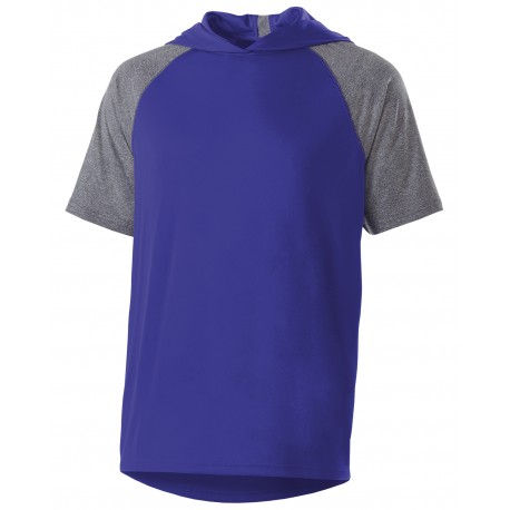 222545 Holloway 222545 Unisex Dry-Excel Echo Short-Sleeve Hooded T-Shirt PURPLE/ GRAP HTH