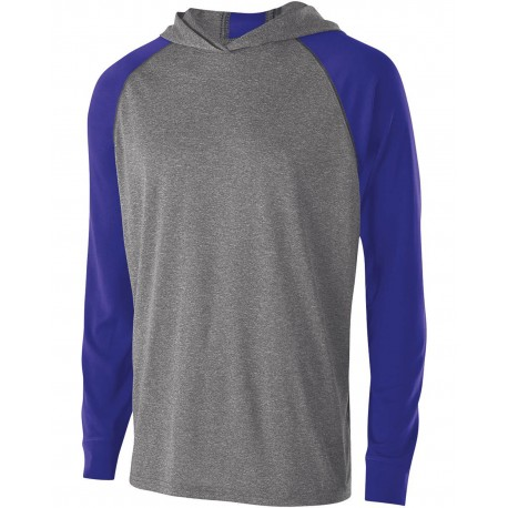 222639 Holloway 222639 Youth Dry-Excel Echo Training Hooded T-Shirt GRAPH HTH/ PURPL