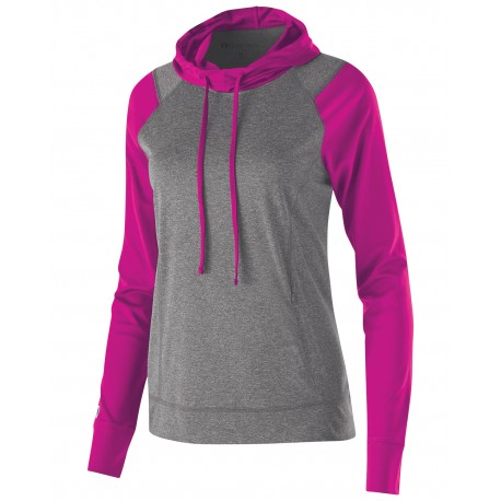 222739 Holloway 222739 Ladies' Dry-Excel Echo Performance Polyester Knit Training Hoodie GRAP HTH/ PW PNK