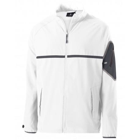229543 Holloway 229543 Unisex Weld 4-Way Stretch Warm-Up Jacket WHITE/ CARBON
