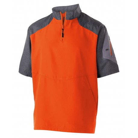 229545 Holloway 229545 Unisex Ultra-Lightweight Aero-Tec Raider Short-Sleeve Warm-Up Pullover CARBN PRT/ ORNGE