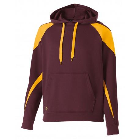 229546 Holloway 229546 Unisex Prospect Athletic Fleece Hooded Sweatshirt MAROON/ LT GOLD