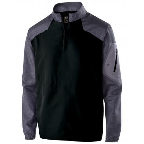 229655 Holloway 229655 Youth Ultra-Lightweight Aero-Tec Raider Warm-Up Pullover CARBON PRT/ BLCK