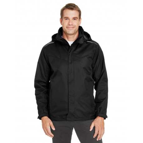 88205 Core 365 88205 Men's Region 3-in-1 Jacket with Fleece Liner BLACK 703