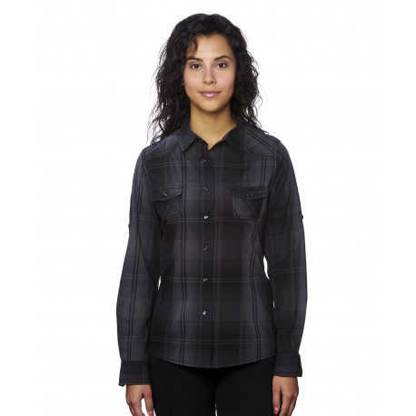 B5206 Burnside B5206 Ladies' Western Plaid Long-Sleeve Shirt BLACK/ GREY