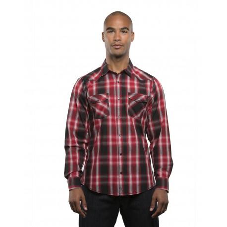 B8206 Burnside B8206 Men's Long-Sleeve Western Plaid Shirt RED/ BLACK