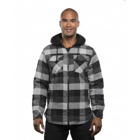 B8620 Burnside B8620 Men's Hooded Flannel Jacket BLACK/ GREY