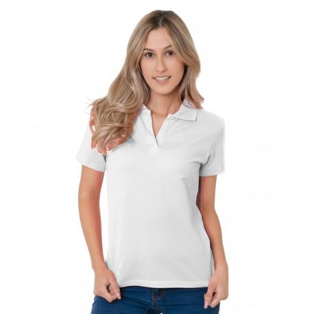 BA1050 Bayside BA1050 Junior's 6.2 oz., 100% Cotton V-Neck Polo WHITE