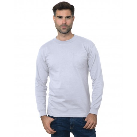 BA3055 Bayside BA3055 Unisex Union-Made Long-Sleeve Pocket Crew T-Shirt ASH