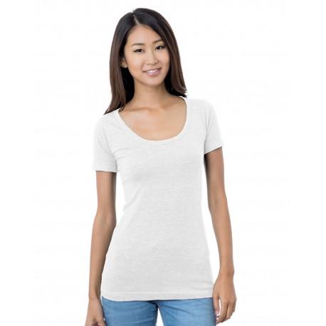 BA3405 Bayside BA3405 Junior's 4.2 oz., Fine Jersey Wide Scoop Neck T-Shirt WHITE