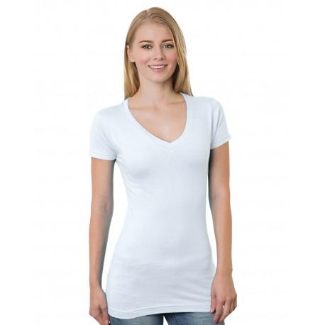 BA3407 Bayside BA3407 Junior's 4.2 oz., Fine Jersey V-Neck T-Shirt WHITE