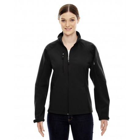78077 North End 78077 Ladies' Compass Colorblock Three-Layer Fleece Bonded Soft Shell Jacket BLACK 703