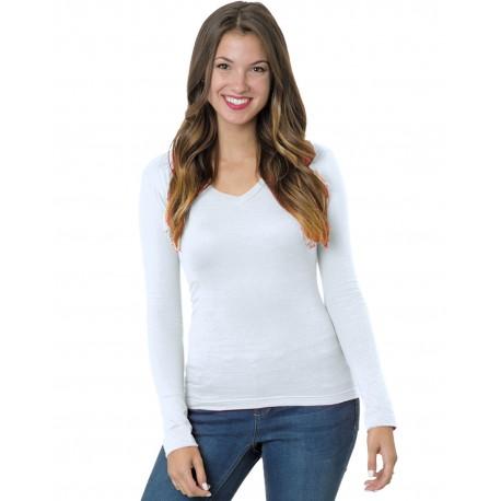 BA3415 Bayside BA3415 Junior's 4.2 oz., Fine Jersey Long-Sleeve V-Neck T-Shirt WHITE