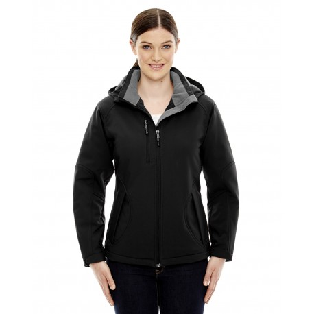 78080 North End 78080 Ladies' Glacier Insulated Three-Layer Fleece Bonded Soft Shell Jacket with Detachable Hood BLACK 703