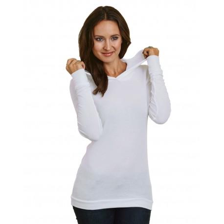 BA3425 Bayside BA3425 5 oz., Junior's Long-Sleeve Thermal Hoodie T-Shirt WHITE