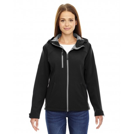78166 North End 78166 Ladies' Prospect Two-Layer Fleece Bonded Soft Shell Hooded Jacket BLACK 703