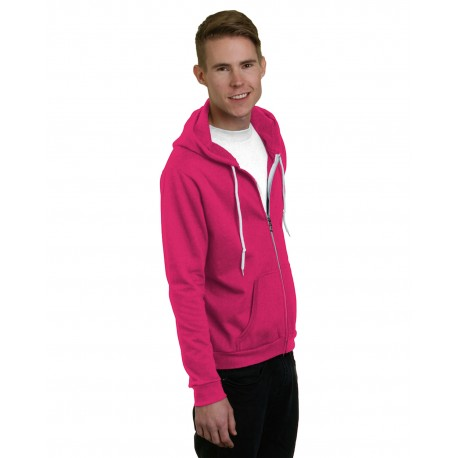 BA875 Bayside BA875 Unisex 7 oz., 50/50 Full-Zip Fashion Hooded Sweatshirt BRIGHT PINK