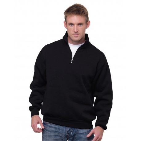 BA920 Bayside BA920 Unisex 9.5 oz., 80/20 Quarter-Zip Pullover Hooded Sweatshirt BLACK