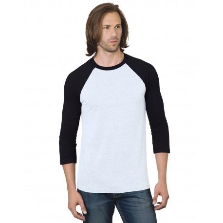BA9525 Bayside BA9525 Unisex 4.2 oz., Triblend 3/4-Sleeve Raglan T-Shirt WHITE/ BLACK