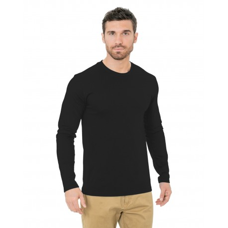 BA9550 Bayside BA9550 Unisex Fine Jersey Long-Sleeve Crew T-Shirt BLACK