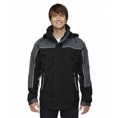 88052 North End 88052 Adult 3-in-1 Seam-Sealed Mid-Length Jacket with Piping BLACK 703