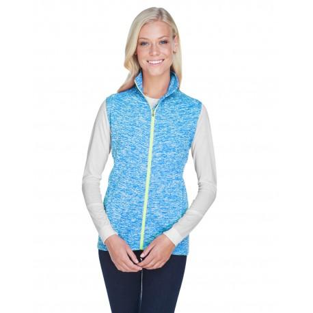 JA8625 J America JA8625 Ladies' Lasic Cosmic Fleece Vest EL BLUE/ NEON GR