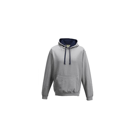 JHA003 Just Hoods By AWDis JHA003 Adult 80/20 Midweight Varsity Contrast Hooded Sweatshirt HTH GRY/ FRN NVY