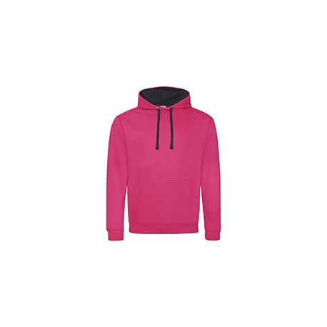 JHA003 Just Hoods By AWDis JHA003 Adult 80/20 Midweight Varsity Contrast Hooded Sweatshirt HOT PNK/ FRN NVY