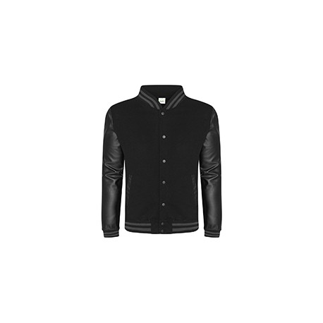 JHA042 Just Hoods By AWDis JHA042 Men's 80/20 Heavyweight Urban Letterman Jacket with Leather Sleeves BLACK/ BLACK