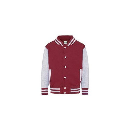 JHY043 Just Hoods By AWDis JHY043 Youth 80/20 Heavyweight Letterman Jacket FIRE RD/ HTH GRY