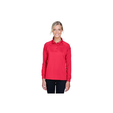 M211LW Harriton M211LW Ladies' Tactical Long-Sleeve Performance Polo RED