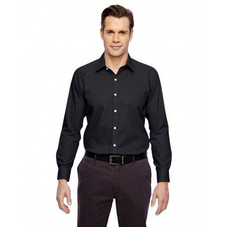 88690 North End 88690 Men's Precise Wrinkle-Free Two-Ply 80's Cotton Dobby Taped Shirt BLACK 703